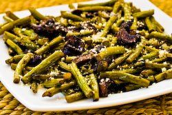 roasted balsamic green beans with mushrooms and parmesan