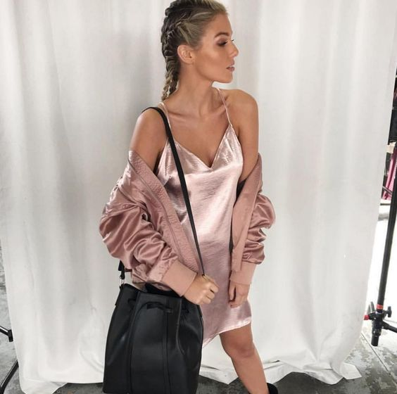 When your outfit is on point! Repost via our friends @nakedvice.  Details: Now available the 'Kendal' slip $69.95 & 'Be My Leader' bomber $149.95 bag by #nakedvice.: