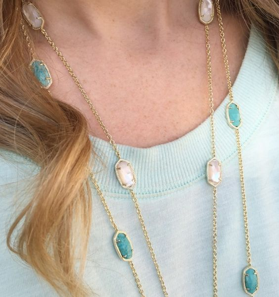 Classic Long Chain Necklaces in Rose Quartz and Turquoise