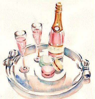 Pink champagne, Champagne and Macaroons