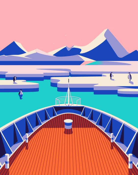 """Malika Favre - Odyssée series for Kuoni France travel brochure 2016  """"chocs"""" ice bergs • un-kitchy, classic art poster style à la Art Deco & Bagel cocktail • french graphic illustrator • official site: http://malikafavre.com"""