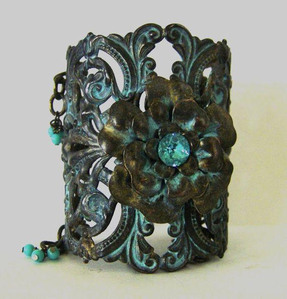 Bracelet Gorgeous Brass Filigree Cuff With by HouseOfJorisJewelry, $79.95