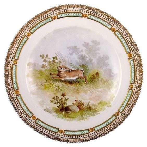 Royal Copenhagen Flora Danica / Fauna Danica Dinner Plate, Hare In Landscape