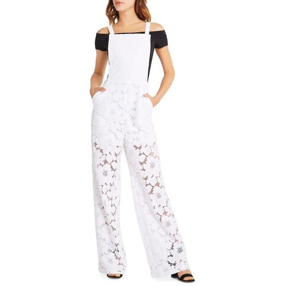 BCBGeneration Apron Floral Lace Overalls ($93) ❤ liked on Polyvore featuring jumpsuits, optic white, floral jumpsuit, white overalls, white lace jumpsuit, white bib overalls and lace jumpsuit