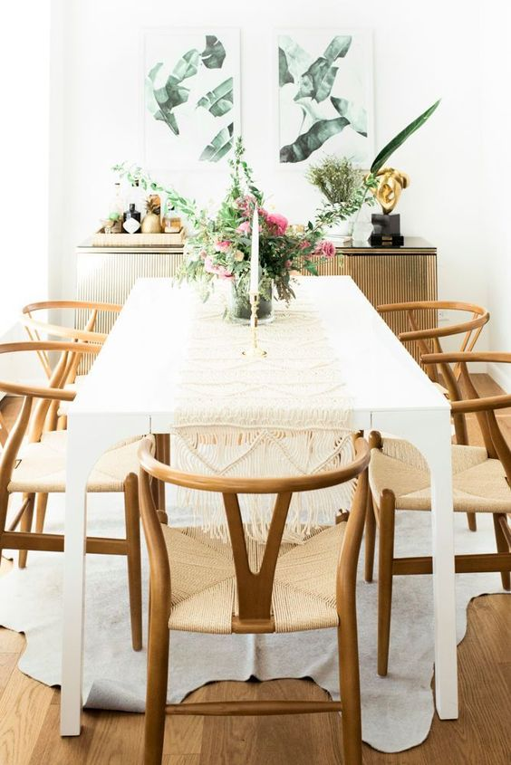 white table wood chairs eclectic California decor styling home decor