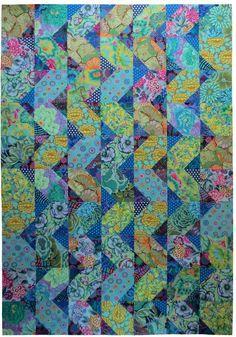 """Cascade"" Pattern by Anne Diester of Spring Leaf Studios. Fabrics by the Kaffe…"