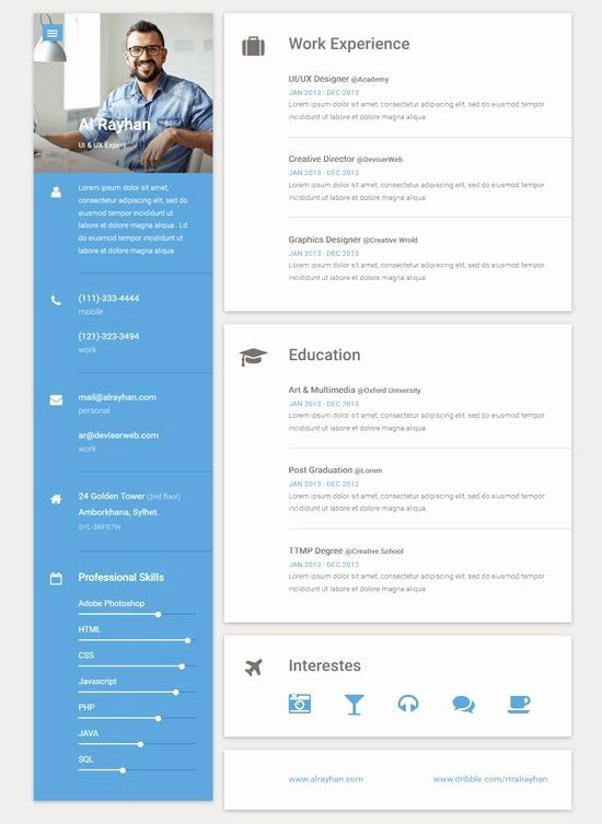 Free Html Resume Template New Material Online Resume Template Diy Online Resume Template Online Resume Resume Design Template
