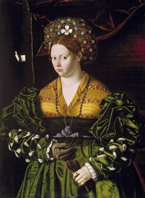 Portrait of a Lady in a Green Dress by Bartolomeo Veneto, 1530 (The Putnam Foundation, Timken Museum of Art, San Diego  illustrate the use of fine luxurious fabrics and fur, decoration such as embroidery, slashing and quilting, also accessories (hats and gloves) and the new fashionable yellow dye.
