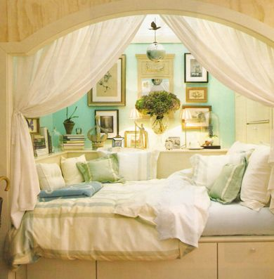 Whimsy! Day bed + built-ins + curtains