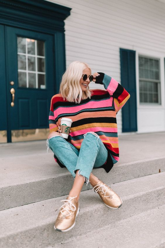 Spring Outfits // Striped Sweater // Rainbow Striped Sweater // Metallic Sneakers // Cute Outfits // Outfits for Spring // Lemon Blonde