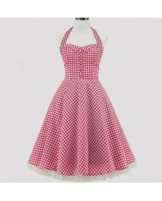 v tement ann e 50s robe t44 46 pin up petits carreaux rose blanc 1950 40 00 ttc http. Black Bedroom Furniture Sets. Home Design Ideas