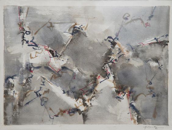 """""""Atrapado por el gris""""  - Heriberto Zorrilla - Tinta y lápiz color sobre papel- 28x38 cm-1992 www.esencialismo.com"""