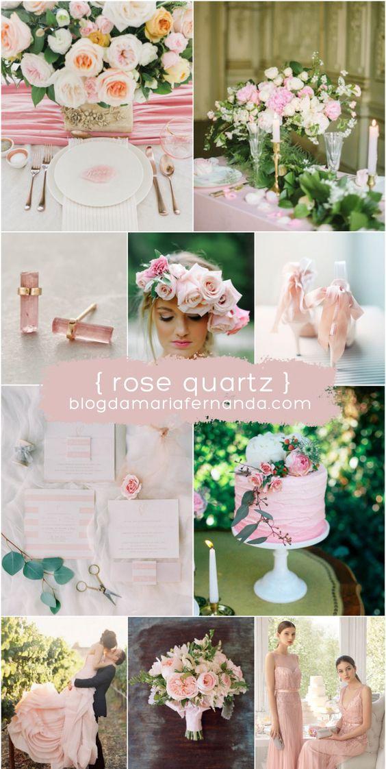 Decoração de Casamento : Paleta de Cores Rose Quartz | Wedding Inspiration Board Color Palette Rose Quartz - Pantone 2016 | http://blogdamariafernanda.com/decoracao-de-casamento-paleta-de-cores-rose-quartz: