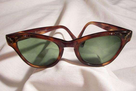 Vintage 40's Authentic cat eye Tortoise shell Bakelite Sunglasses frame marked Frame France El