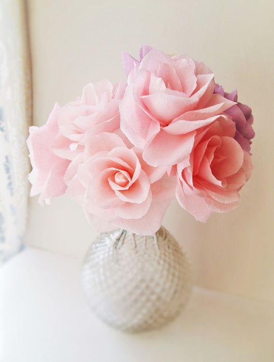 Romantic crepe paper roses handmade by ameli 39 s lovely for Handmade paper creations