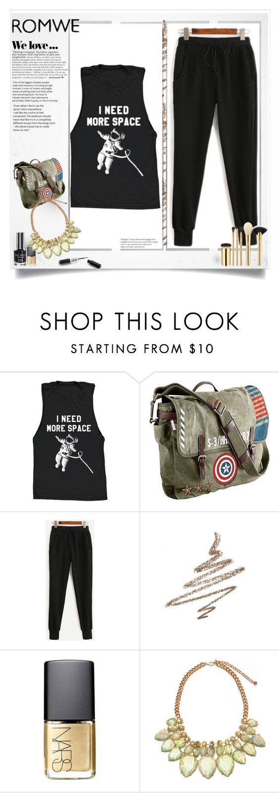 """romwe competition"" by anamary-cxli ❤ liked on Polyvore featuring Marvel, Anastasia Beverly Hills, Zara, NARS Cosmetics and tarte"