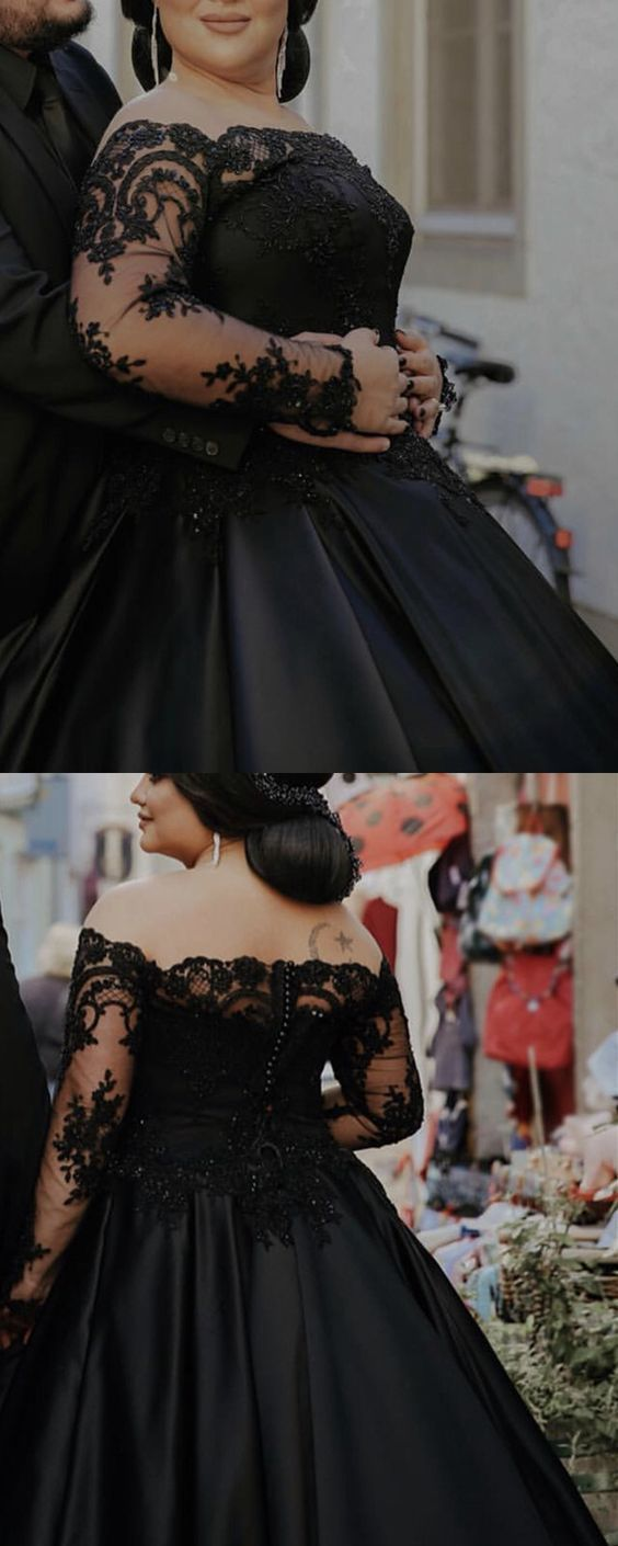 Black Wedding Dress Plus Size Ball Gown Lace Long Sleeves Prom Dress Ml9830 Black Lace Wedding Dress Black Wedding Dresses Black Ball Gown [ 1410 x 564 Pixel ]
