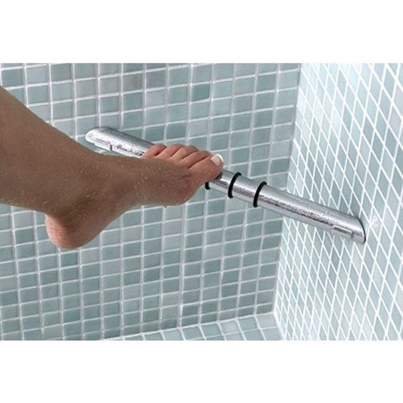 Wow...only a woman could have created this!!  Use a simple boring tool ....Shower Foot Rest makes shaving sooo much easier!!!