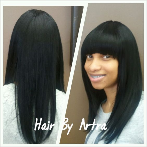 Basic Quick Weave With Chinese Bangs Hair Styles Artra