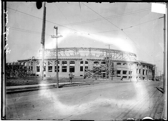 The original Comiskey Park being built.