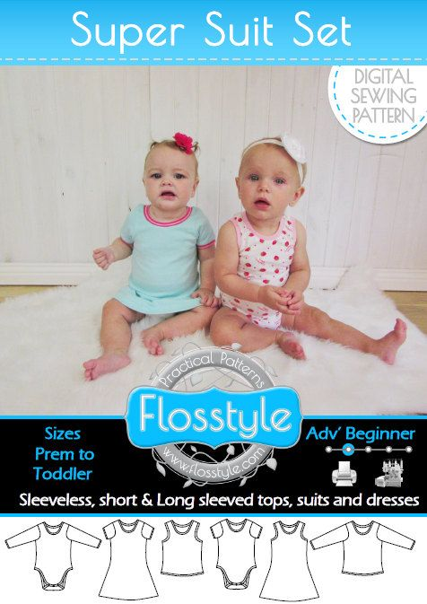SUPER SUIT SET baby Short & Long Sleeve onesie dress by Flosstyle