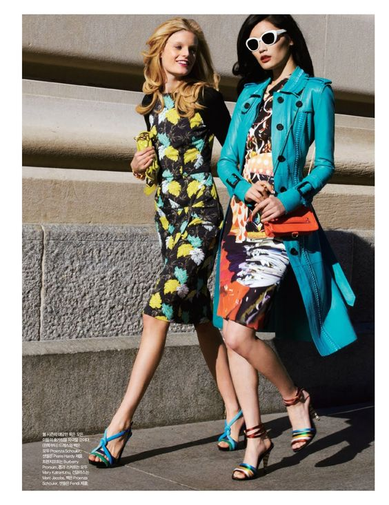 """That blue coat is wicked!  Models: Ming Xi and Hanne-Gaby Odiele 