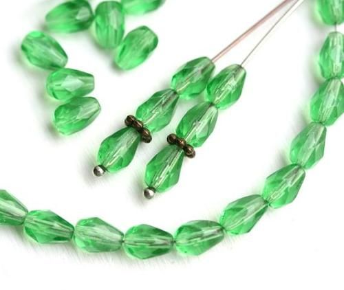 4mm 150PCS Clear Transparent Green Faceted Crystal Beads Rondelle Glass