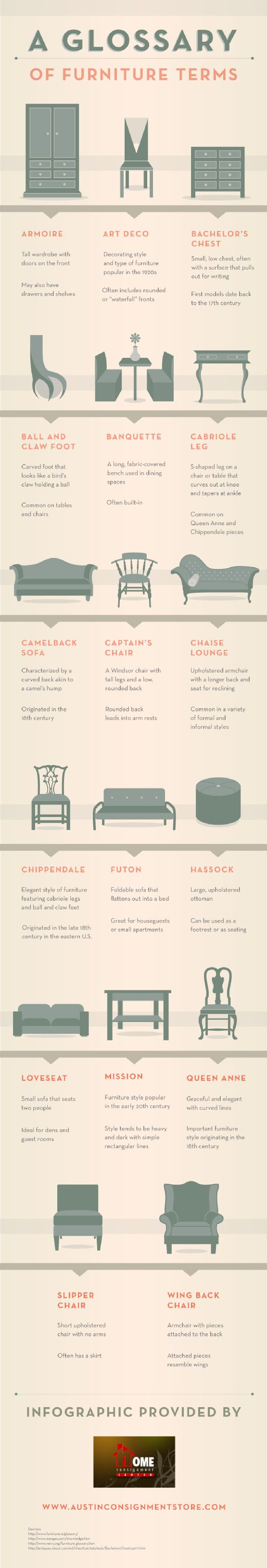 Furniture Glossary Terms found on Hello Lovely