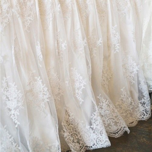 White Luxury French Lace Bedskirt In 2020 Lace Bedding Lace