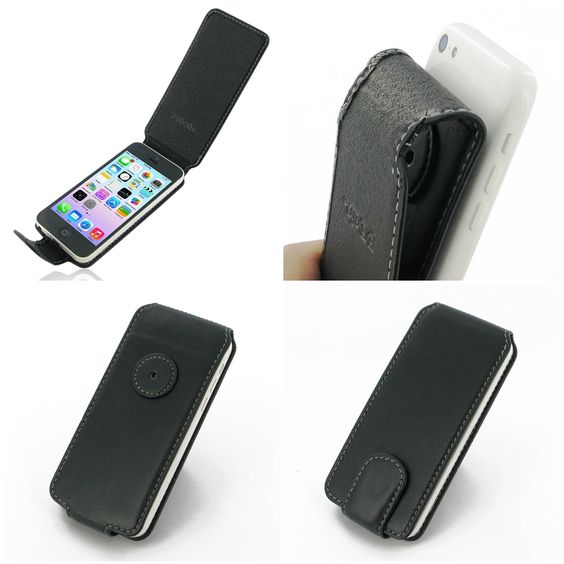 PDair Leather Case for Apple iPhone 5c - Flip Type (Black) Ver.2