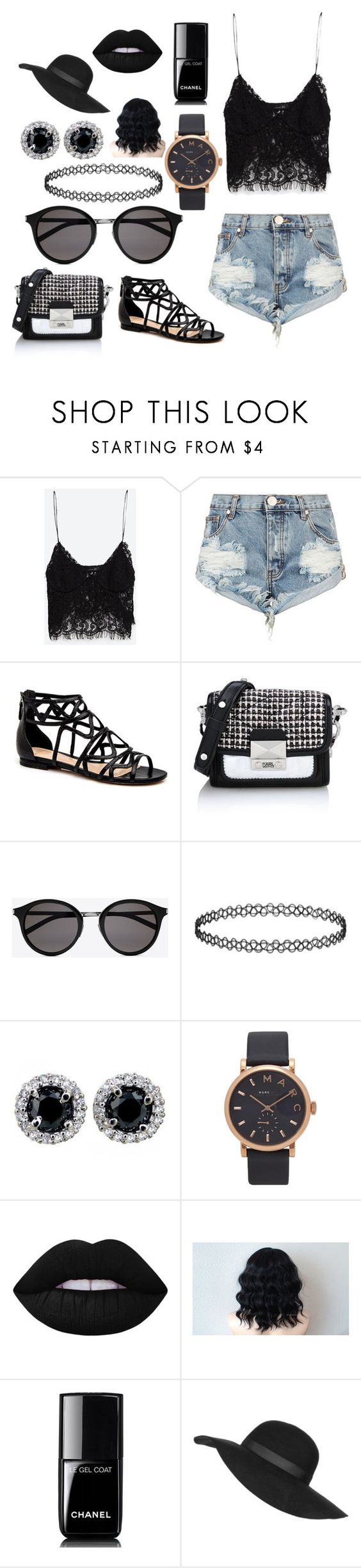 """""""black summer"""" by edgarallenhoe ❤ liked on Polyvore featuring Zara, One Teaspoon, Karl Lagerfeld, Yves Saint Laurent, Marc by Marc Jacobs, Lime Crime, Chanel and Topshop"""