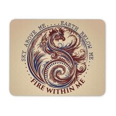 Sky Above Me, Earth Below Me, Fire Within Me - Red and Blue Dragon Yin Yang Swirl - Mouse Pad...