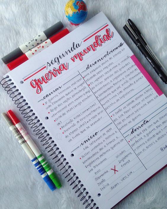 Inspiração caderno organizado Pinterest
