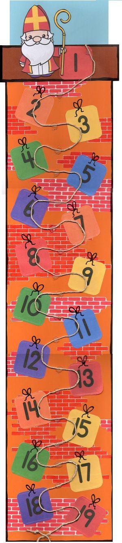 || Sinterklaas || aftelkalender || Laat langs het touw een pietje klimmen, elke dag een stukje hoger.