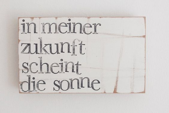 """Holzplatte mit motivierendem Text / wooden wall decoration, text """"my future is going to be sunny"""", motivational quote by iopla via DaWanda.com"""