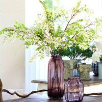 European color purple stripes transparent glass flower vase home decoration factory manufacturing
