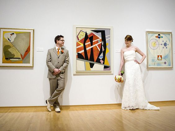 Have your wedding at a local art gallary. Such as this couple at Phoenix Art Museum