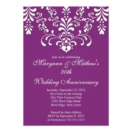 Damask Purple Wedding Anniversary Invitation