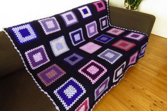 Purple Afghan Blanket Purple Throw Blanket 50 x by PhoenixSmiles