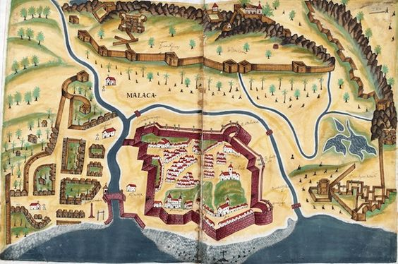 From the Asian and African Studies blog post 'Sejarah Melayu: A Malay Masterpiece'. Image: Plan of Melaka after its capture by the Portuguese. Livro do Estado da India Oriental, by Pedro Barreto de Resende, 1641.: