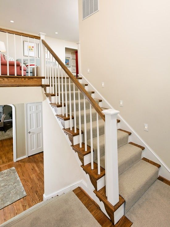 Bi Level Remodel Complete Redesign And Reno: Oak Banister White Spindles Design, Pictures, Remodel
