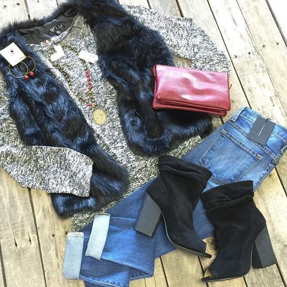 """#NEWARRIVALS #BoatNeck #Longsleeve #Top w/ #Tail #Hem $24.99 S-L #FurVest $49.99 S-L #FlyingMonkey #HighWaisted #SkinnyJeans $59.99 24, 27-30 #ChineseLaundry #PeepToe #Booties $96.99 6-10 #PinkPanache #Necklace $44.99 & Earrings $16.99 #Maroon #Crossbody w/ #Wristlet $24.99 We #ship! Call to order! 903.322.4316 #shopdcs #goshopdcs #instashop #love"" Photo taken by @daviscountrystore on Instagram, pinned via the InstaPin iOS App! http://www.instapinapp.com (09/26/2015)"