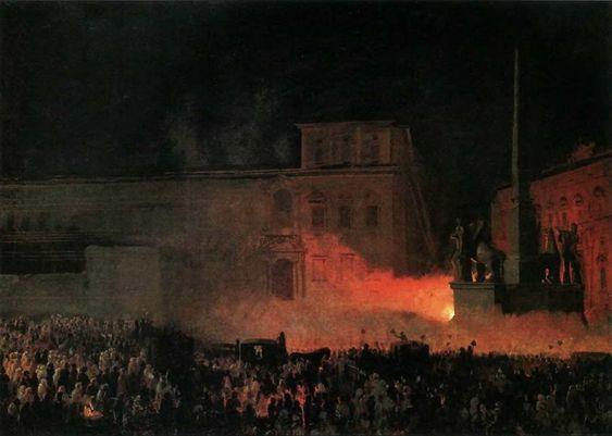 Брюллов Карл Павлович. Политическая демонстрация в Риме: