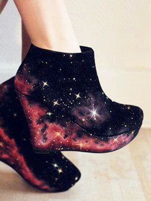 Standing on Stars  The night sky is a popular photo option when it comes to digital print fashion. (You can find this type of print on leggings, dresses, and blouses.) I love how the stars perk up a simple pair of black wedge booties.