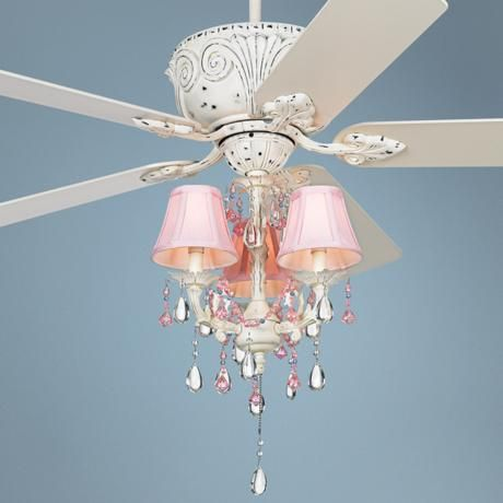 Casa deville pretty in pink pull chain ceiling fan girl rooms chandelier fan and chandelier - Girl ceiling fans with chandelier ...