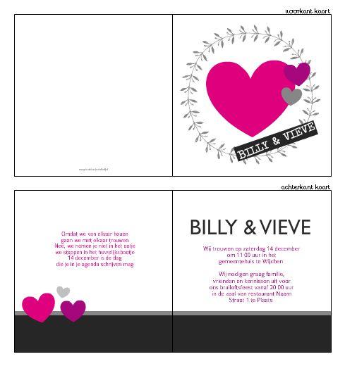 Trouwkaartje - Stoer trouwkaartje paars hartje & een kransje. Ontwerp of bewerk dit kaartje zelf! Met onze ontwerp tool. www.trouwkaarten-drukkerij.nl