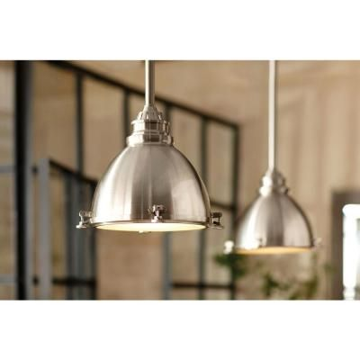 home decorators collection 1 light ceiling brushed nickel metal dome pendant 25397