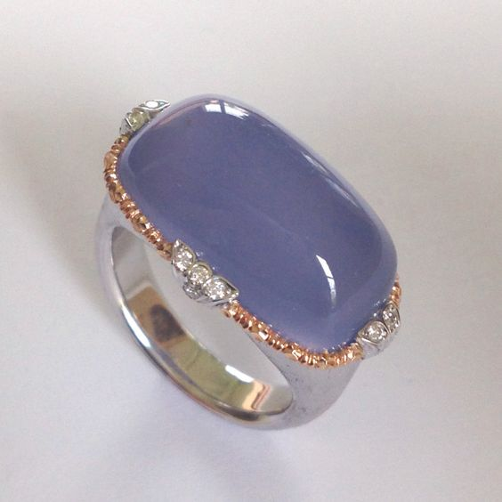 GIOIELLI DALBEN Namibian Chalcedony and Diamond White and Rose Gold Ring |http://www.1stdibs.com/jewelry/rings/cocktail-rings/: