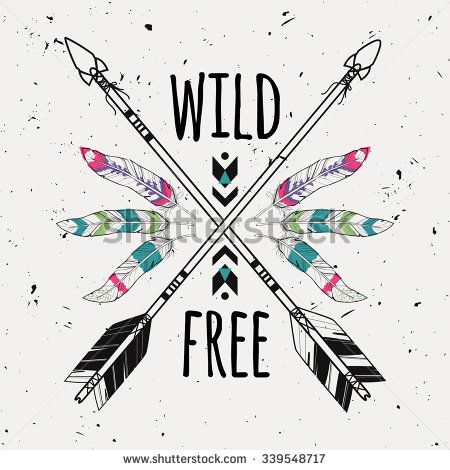 Vector grunge illustration with crossed ethnic arrows, feathers and tribal ornament. Boho and hippie style. American indian motifs. Wild and Free poster. - stock vector