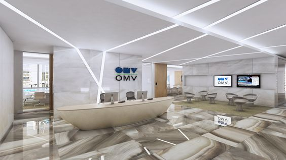 Reception office design and build visual for energy company wall and ceiling light feature - Office ceiling lighting ideas ...